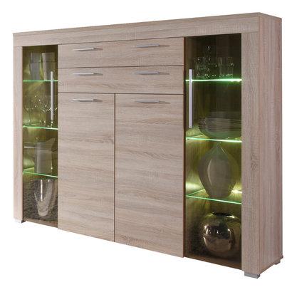 Borak dressoir hoog incl verlichting, 2 deuren en 2 lades, licht eiken decor.