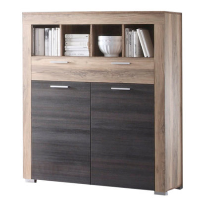 Borak kommode 2 deuren, 1 lade en 4 planken, walnoot decor, touchwood decor.