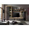Borak wandkast opstelling incl verlichting, walnoot decor, touchwood decor.
