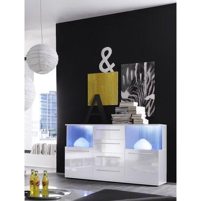 Pums dressoir met 2 deuren, 4 lades en incl verlichting, wit.
