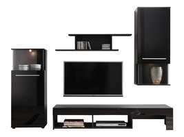 Pums wandkast opstelling incl verlichting, zwart en zwart glans.