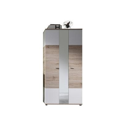 Campri kledingkast 3 deuren, licht eiken decor, wit.