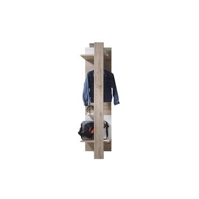 Campri kapstok wandpaneel met 3 planken, kledingstang en 3 haken, licht eiken decor, wit.