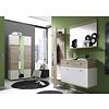 Campri schoenenkast voor wandmontage met 2 deuren en 2 lades, licht eiken decor, wit.