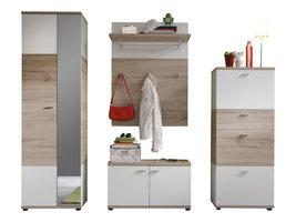 Campri  garderobe opstelling B, licht eiken decor, wit.