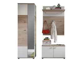 Campri  garderobe opstelling H, licht eiken decor, wit.