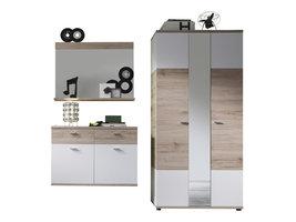 Campri  garderobe opstelling J, licht eiken decor, wit.