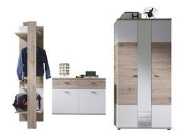 Campri  garderobe opstelling K, licht eiken decor, wit.