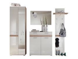 Seto  garderobe opstelling A, licht eiken decor, wit hoogglans.