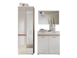 Seto  garderobe opstelling B, licht eiken decor, wit hoogglans.