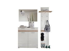 Seto  garderobe opstelling D, licht eiken decor, wit hoogglans.