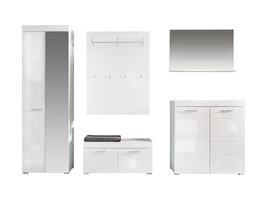 Amira  garderobe opstelling D, wit, wit hoogglans.