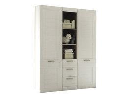 Larcy kinder kleerkast met 2 deuren, 3 lades en 3 planken, wit structuur, pijnboom decor.