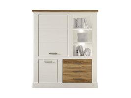 Torono dressoir 2 deuren, 3 lades en 3 planken, wit structuur, walnoot decor.