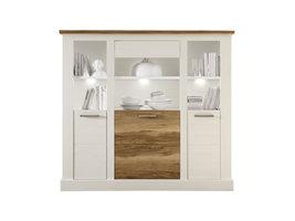 Torono dressoir 3 deuren en 4 planken, wit structuur, walnoot decor.