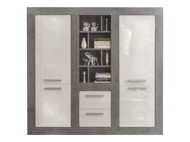 Purono dressoir 4 deuren, 2 lades en 8 planken, beton decor, wit hoogglans.
