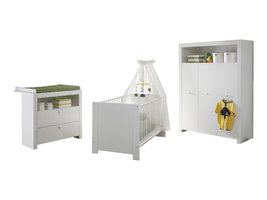 Olja  babykamer set, ledikant, commode en 3-deurs kast, wit.