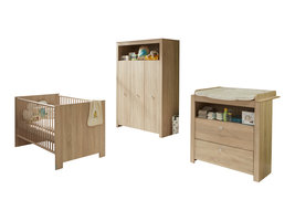 Olja  babykamer set, ledikant, commode en 3-deurs kast, eiken decor.
