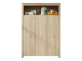 Olja kinder kledingkast met 3 deuren en 1 plank, eiken decor.