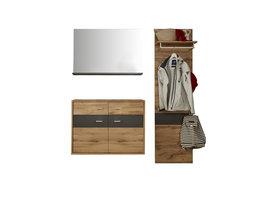 Coris  garderobe opstelling B, incl 2xLED verlichting, eiken decor, grijs.