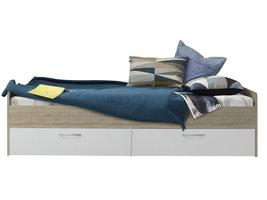Canzir bed 90x200 cm met 2 lades, wit en eiken decor.