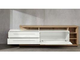 Odar TV-meubel 2 lades, 7 planken en 1 klep, eiken decor, wit, wit hoogglans.
