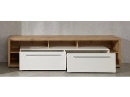 Odar TV-meubel 2 lades en 5 planken, eiken decor, wit, wit hoogglans.
