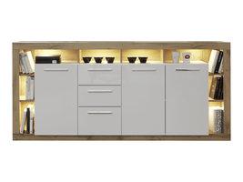 Rominia dressoir 3 deuren, 2 lades, 8 planken en 1 klep, eiken decor, wit, wit hoogglans.