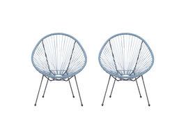 2xElira fauteuil tuin zwart en lichtblauw.