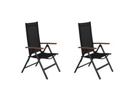 2xLamira tuinstoel verstelbare stoel, zwart en teak armleuningen..