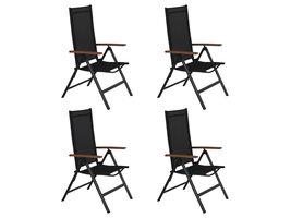 4xLamira tuinstoel verstelbare stoel, zwart en teak armleuningen..