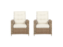 2xGram fauteuil tuin incl. kussen, naturel en off white.