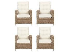 4xGram fauteuil tuin incl. kussen, naturel en off white.