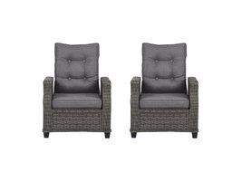 2xOris fauteuil tuin incl. kussen, grijs en lichtgrijs .