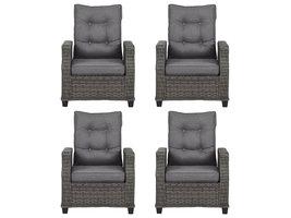 4xOris fauteuil tuin incl. kussen, grijs en lichtgrijs .