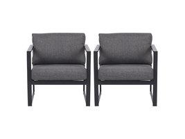2xIrina fauteuil tuin incl. kussen, zwart en grijs.