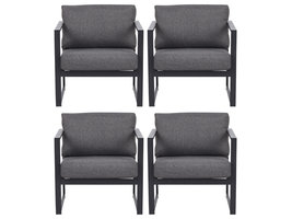4xIrina fauteuil tuin incl. kussen, zwart en grijs.
