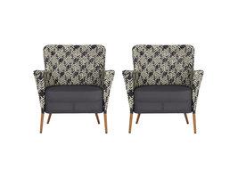 2xLima fauteuil tuin incl. vast kussen, zwart, wit en blauw.