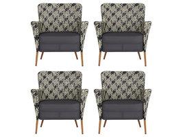4xLima fauteuil tuin incl. vast kussen, zwart, wit en blauw.