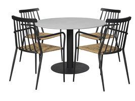 Helle tuintafel en 4 stoelen.