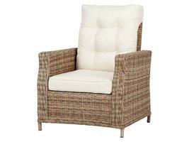 Gram fauteuil tuin incl. kussen, naturel en off white.