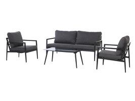 Nilen tuinmeubelset sofa set met 4 delen, incl. kussen, zwart en grijs.