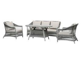 Hvalo tuinmeubelset sofa set met 4 delen, incl, kussen, zand en zan