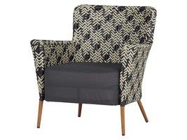 Lima fauteuil tuin incl. vast kussen, zwart, wit en blauw.