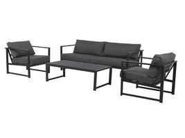 Irina tuinmeubelset sofa set met 4 delen, incl. kussen, zwart en donkergrijs.
