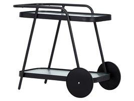 Steam trolley, zwart en heldere strepen.