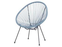 Elira fauteuil tuin zwart en lichtblauw.