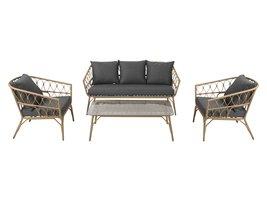 Masanne tuinmeubelset sofa set met 4 delen, incl. kussen, naturel en grijs.