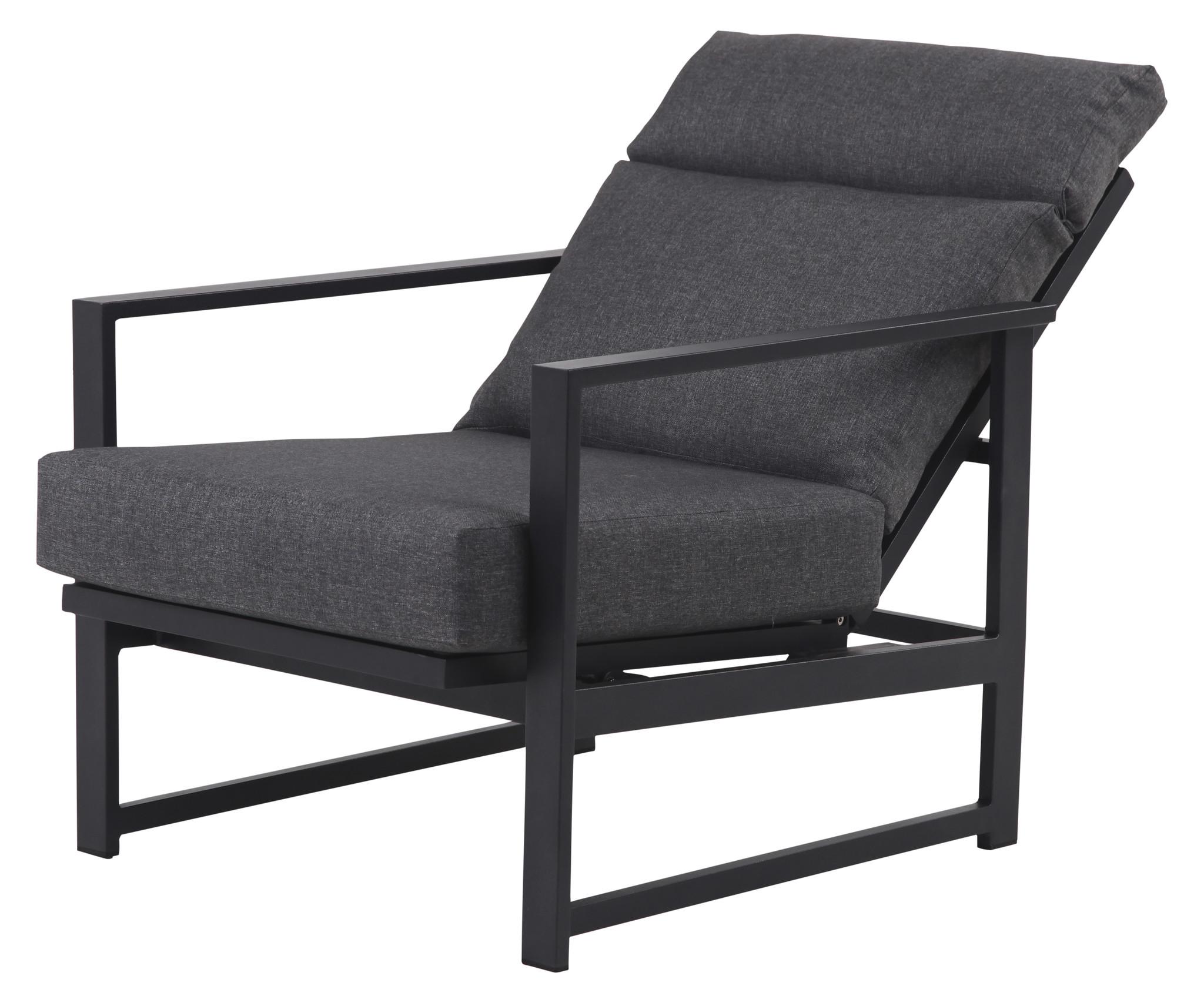 Lounge Stoel Met Kussen.Irina Loungestoel Incl Kussen Verstelbaar Zwart En Grijs