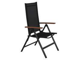 Lamira tuinstoel verstelbare stoel, zwart en teak armleuningen.